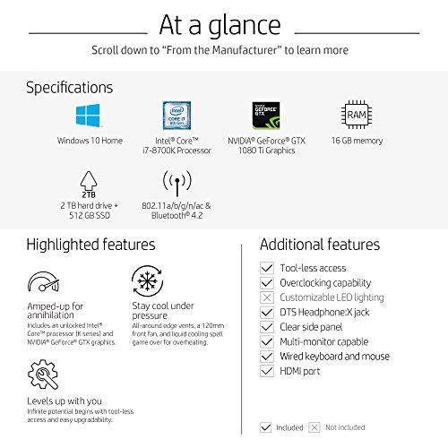 OMEN by HP Gaming Desktop Computer, Intel Core i7-8700K, NVIDIA