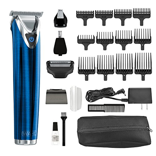 Wahl Clipper Stainless Steel Lithium Ion Plus Beard Trimmer Kit Blue No.9864B