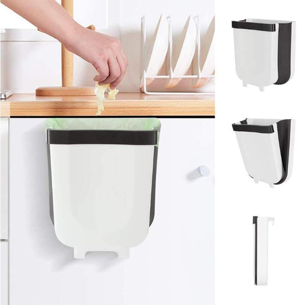 Queta Contenedor de Basura Plegable, 9L Contenedor Colgante de Pared, Cubo de Basura para Cocina/Automóvil/Baño/Oficina/Dormitorio (Blanco-Negro)
