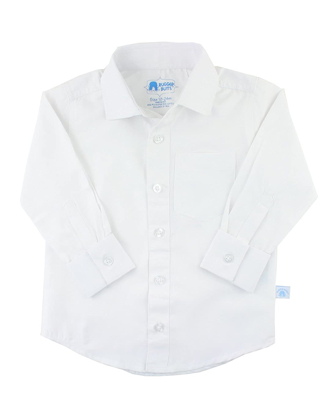 RuggedButts Baby/Toddler Boys White Formal Button Down BLWWHXX-FC00-BABY
