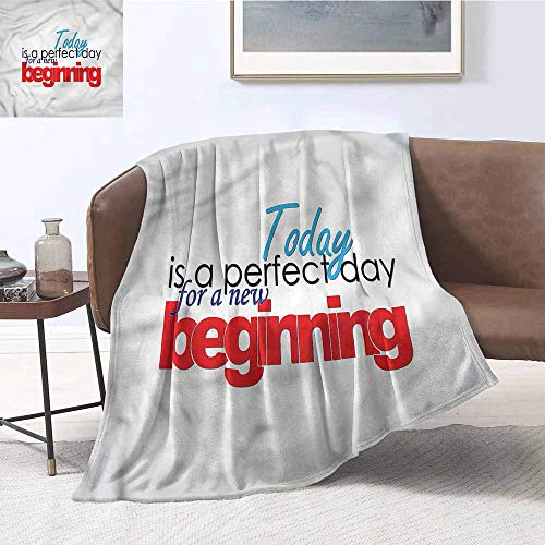 DILITECK Reversible Blanket Motivational New Beginnings Plush Throw Blanket W70 xL84 Traveling,Hiking,Camping,Full Queen,TV,Cabin