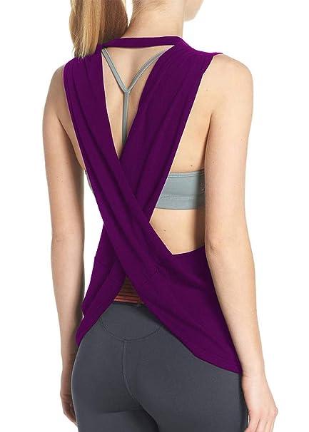 a2bc14348b Fihapyli Women's Sleeveless Open Back Shirt Flowy Yoga Top Loose Women  Running Tops Backless Active Top