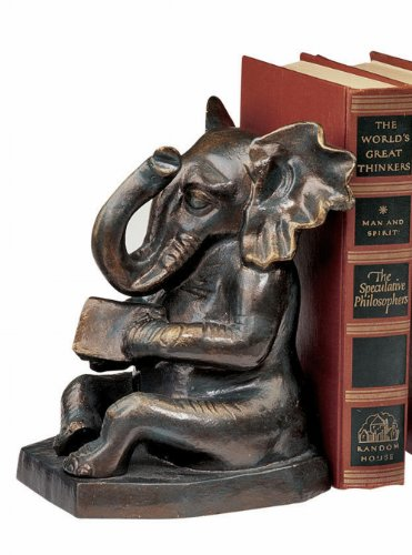 Design Toscano Educated Elephant Cast Iron Bookend, Bronze