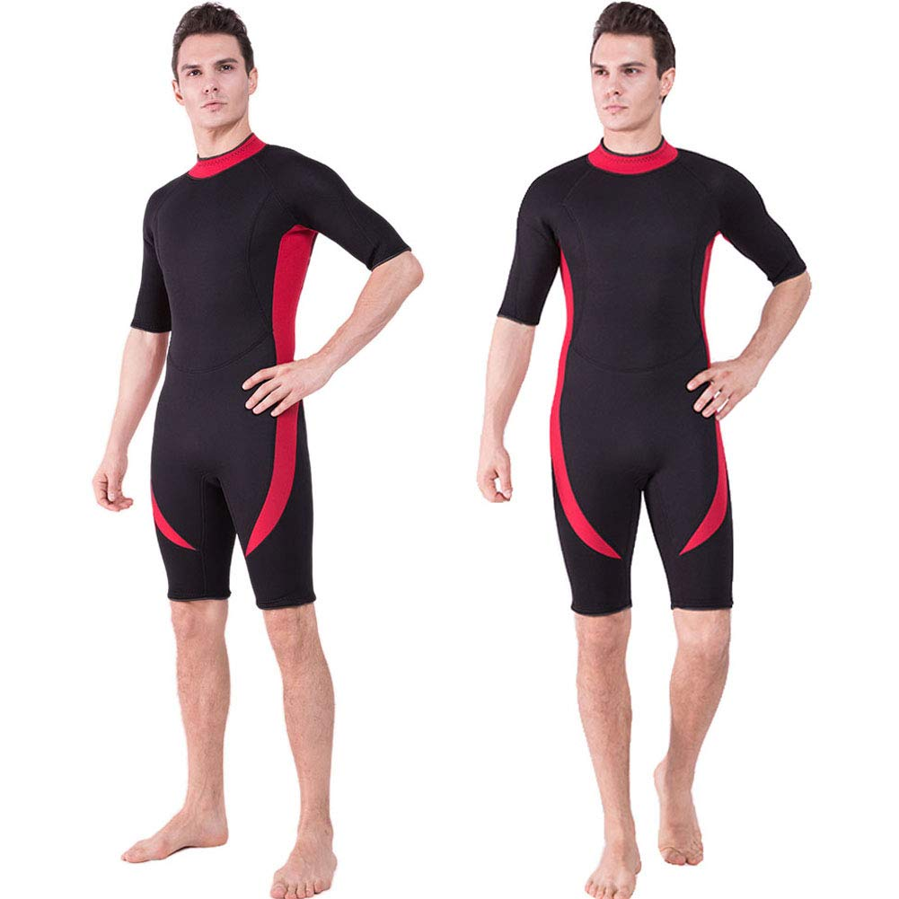 DEHAI Men Women's Thermal Wetsuits Full Suit Sleeves 3mm Neoprene Youth Adult's Diving Swimming Snorkeling Surfing Scuba Jumpsuit Warm Swimwear (3mm Shorty Men Wetsuit - Red, XXXL) by DEHAI
