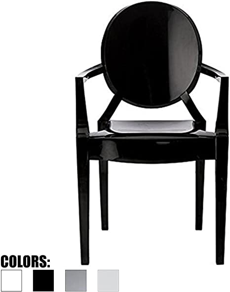Amazon Com 2xhome Black Modern Contemporary Louis Xiv Dining Chair Armchair Ghost Style Ghost Chair With Arms Ghost Arm Chair In Black Stackable Stacking Made From Polycarbonate Chairs