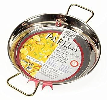 La Ideal Paella Sartén de Acero Inoxidable, Plata, 28 cm, 1 ...