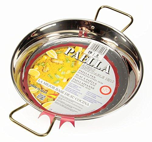 La Ideal Paella sartén de acero inoxidable, plata, 28 cm, 1 unidad ...