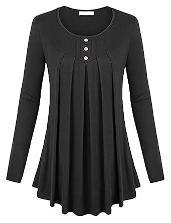 dd9e74ceb2608 Smibra Womens Knit Solid Long Sleeve Buttons Crew Neck Pintuck Flowy Tunic  Shirt Top Black Medium