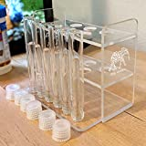 Aquarium Test Tube Holder, Rack, with 6 Holes and 6 Drying Poles, customised for use with Aquarium Test Tubes Including API Test Tubes, by Tililly Concepts