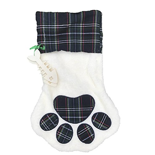 Lexy Plus 17 inch Sherpa Hanging Christmas Stocking FT. Pet Dog Paw Cat Paw Holiday Design White Green Plaid with Polyester Cuff one piece Cat Paw Stocking