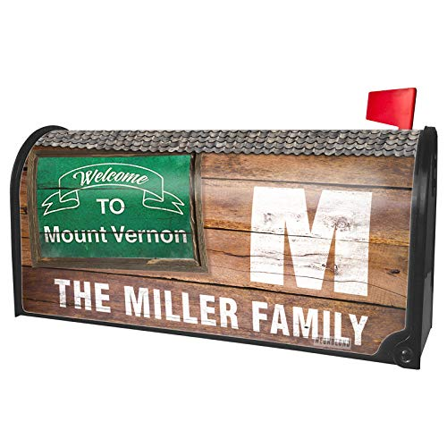 NEONBLOND Custom Mailbox Cover Green Sign Welcome to Mount Vernon