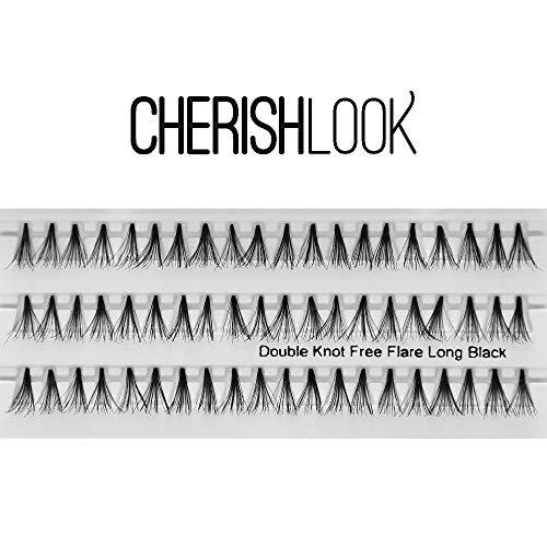 Cherishlook Professional 10packs Eyelashes - (Double Knot Free) Flare Long Black