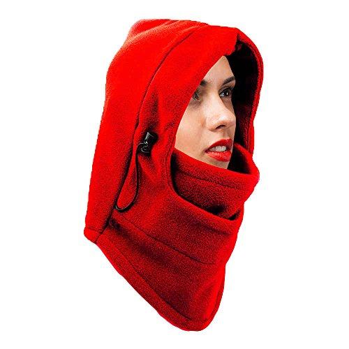 Heaven Fleece Máscara Pasamontañas de esquí 3en 1–Ajustable, Opciones de Color, de invierno necesidad., Rojo