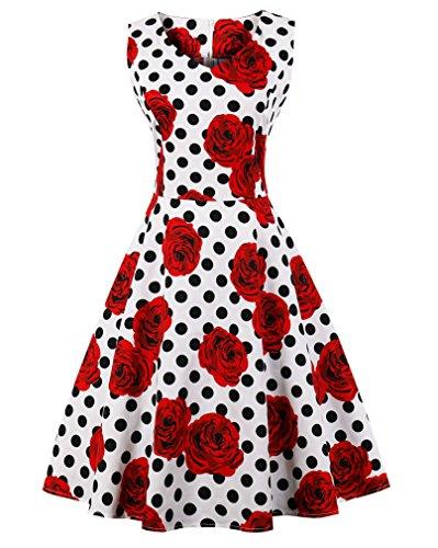 VERNASSA 1950s Vestidos para Mujer, 50s Vestido Retro con Estilo del Oscilación de la Tarde de la Vendimia del Baile de Fin de Curso del Club del Coctel del Algodón del Estilo de Hepburn 1620-rosa