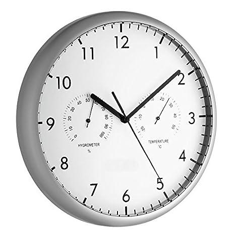 TFA 98.1072 Reloj de Pared electrónico con termómetro e higrómetro de 265 mm: Amazon.es: Hogar