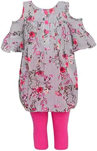 9ffc6b34ab7 Bonnie Jean Little Girls Red Floral Print Cold-Shoulder 2 Legging Outfit  4-6X