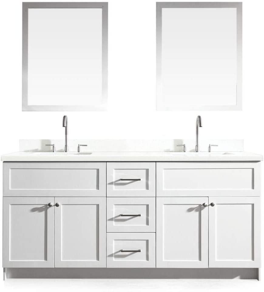 ARIEL Hamlet F073D-WQ-WHT- 73 Solid Wood Double Sink Bathroom Vanity Set with White Quartz Countertop