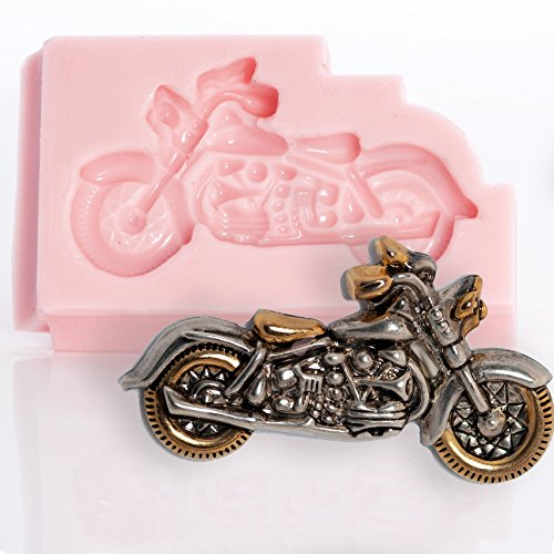 (Motorcycle Silicone Mold Food Safe Fondant, Chocolate, Candy, Resin, Polymer Clay Mold. Flexible easy to use. Jewelry, Craft or Food Mold.)