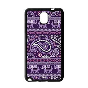 Purple Indian Paisley Elephant Rubber Cell Phone Cover Case for SamSung Galaxy Note 3