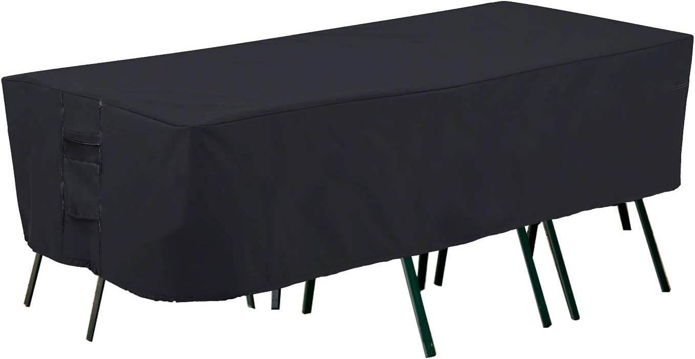 PrimeShield Waterproof Large Patio Furniture Set Cover, Fit for Oval Rectangular Patio Furniture Table and Chair Set, 108 x 82 x 23 inch