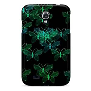 Faddish Phone Green Crystal Butterflies On Black Case For Galaxy S4 / Perfect Case Cover