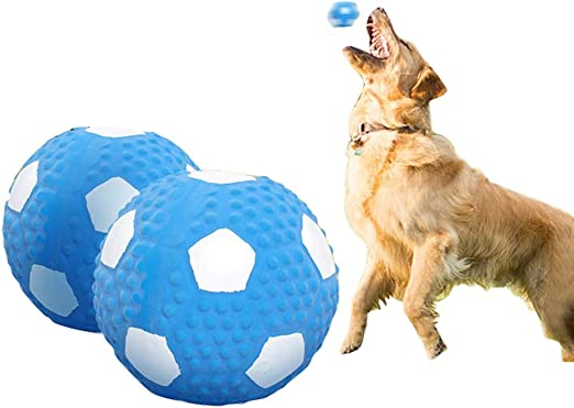 MLQ 2 piezas de juguete de fútbol de látex para perro, pelota de ...