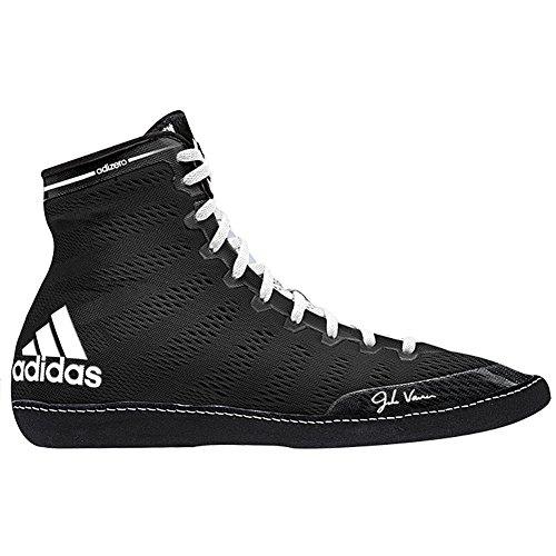 Adidas Adizero Varner Lucha de zapatos, negro real / blanco /, 4 M con nosotros Black/White/White