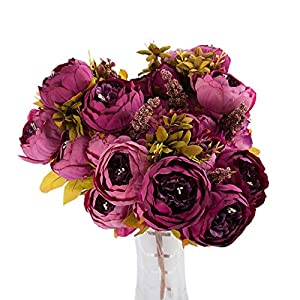 Cywulin 3 Bouquet 24 Heads Artificial Peony Silk Fake Flowers Floral Decor for Wedding Bouquet House Office Garden Inddor Outdoor 2