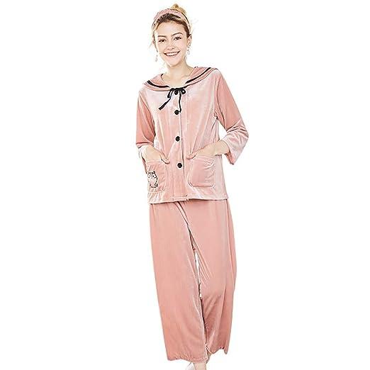 LINLIN Pijamas De Mujer Terciopelo Dorado Traje De Dos Piezas Moda ...