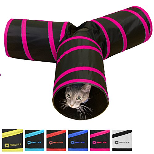 Purrfect Feline Tunnel of Fun, Collapsible 3-way Cat Tunnel Toy with Crinkle (Pink, Medium)
