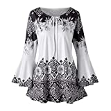 Print Tops,Toimoth Fashion Womens Plus Size Printed Flare Sleeve Tops Blouses Keyhole T-Shirts (Black,2XL)