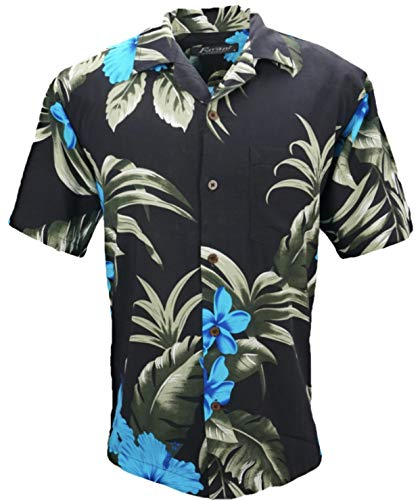 Tropical Luau Beach Floral Print Men's Hawaiian Aloha Shirt (Large, ()