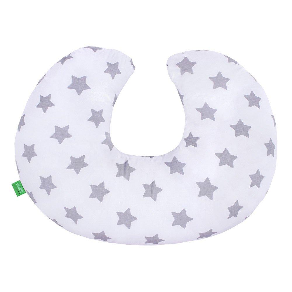 Lulando Minky Coj/ín De Lactancia De Doble Cara para Mantener El Cuello Ideal para Neonatos para Los Ni/ños Durante El Viaje White Stars Farbe:Mint Grey