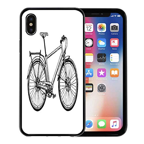 Emvency Phone Case for Apple iPhone Xs case,Bike of Hybrid Bicycle in Ink Hard Tail Sketch Drawing Pen Ancient for iPhone X Case,Rubber Border Protective Case,Black ()