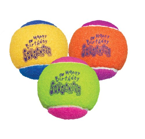 KONG Air Dog Squeakair Birthday Balls Dog Toy, Medium, Colors Vary (3 Balls) (Dog Boutique Online)
