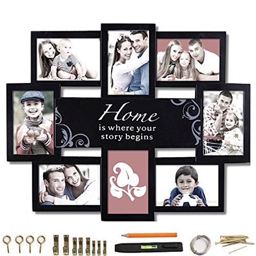 """Modern Black Collage Photo Frame 22' x 17.25' [ 3.5"""" x 5.5' Photo Windows For 4' x 6"""" Pictures ] 8 Glass Photo Windows words 'Home Is Where Your Story Begins' BUNDLE Picture Hanging Kit + Level"""
