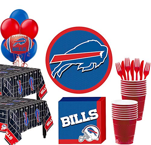 Party City Buffalo Bills Super Party Supplies for 36 Guests, Include Plates, Napkins, Table Covers, Cups, and Balloons]()