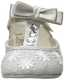 Badgley Mischka Girls\' Baby Bow Tie Ballet Flat, Silver, 3 M US Infant