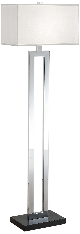 Artiva USA Geometric, Contemporary Design, 60-Inch Chrome & Black Contrast Floor Lamp with Rectangular Hardback Shade by Artiva USA