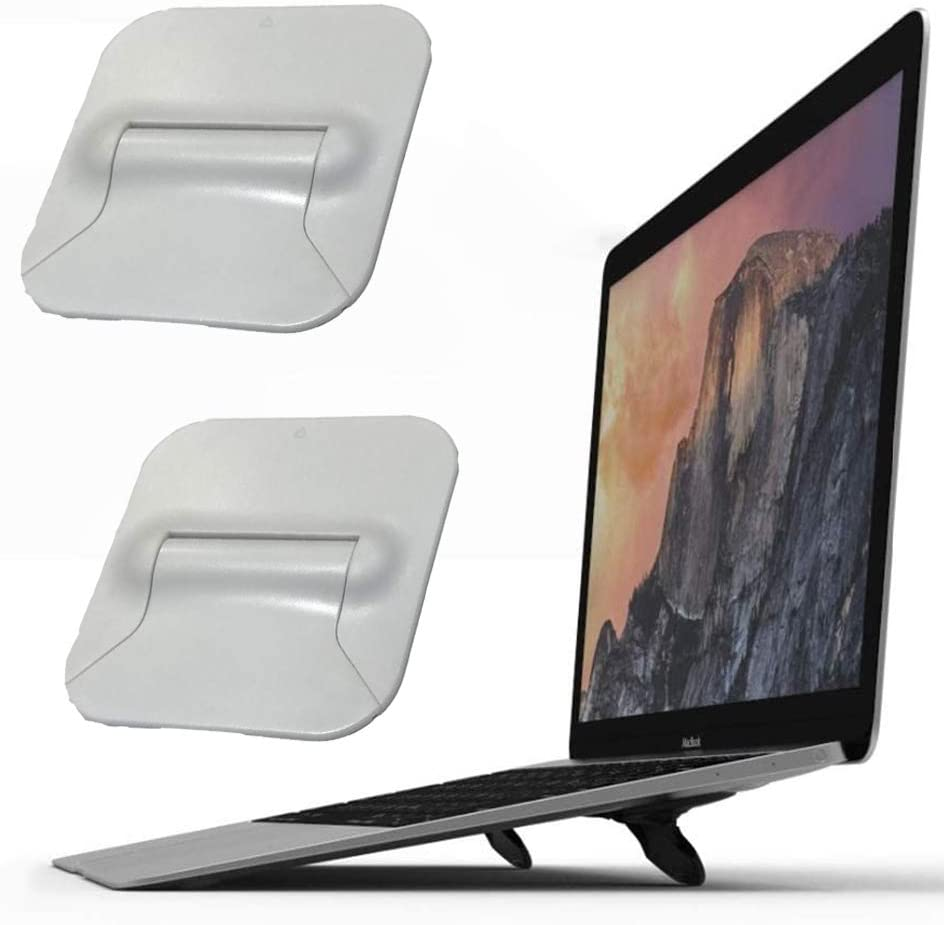 Computer Keyboard Riser Stand, Mini Invisible Ergonomic Tilted Laptop Stand Holder Mount, Foldable Elevated Travel Tablet Notebook Pad Phone Cooler for MacBook Air Pro Lenovo HP &More (White, 2PCS)
