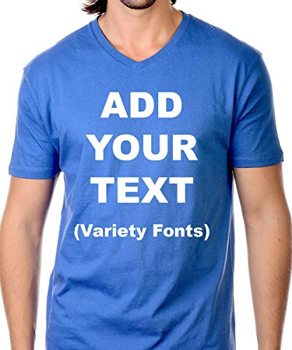 Custom V-Neck t Shirts Ultra Soft Add Your Text for Men & Women Unisex Cotton T Shirt [RoyalBlue/M]