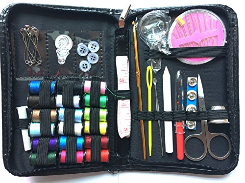 Timemorry Mini Travel Sewing Kit, Emergency Sewing Supplies with Thread, Needles, Carrying Case and Accessories for Beginner, Tailor, Art, Home, Black