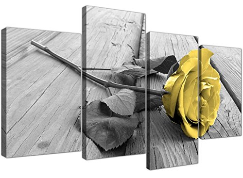 Yellow Grey Rose Flower Black White Floral Canvas - Split 4 Part - 51 Inches Wide - 4255 - (Rose Flower Picture)