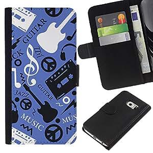 Planetar® Modelo colorido cuero carpeta tirón caso cubierta piel Holster Funda protección Para Samsung Galaxy S6 EDGE / SM-G925(NOT FOR S6!!!) / SM-G925(NOT FOR S6!!!) ( Music Guitar Hippy Pattern )
