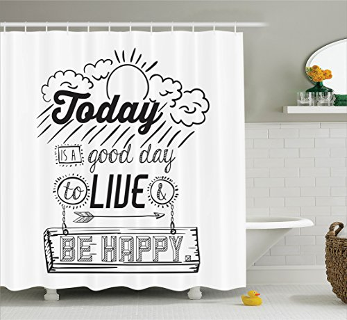 Retro Shower Curtain Inspiring Quotes Decor by Ambesonne,