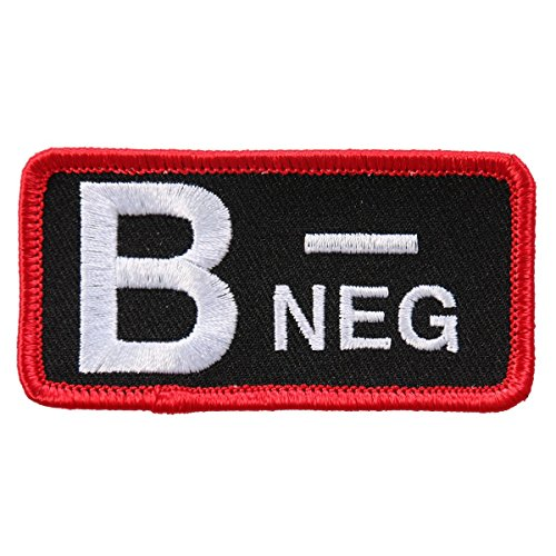 Hot Leathers, BLOOD TYPE B NEG, Exceptional Quality Iron-On / Saw-On, Heat Sealed Backing Rayon PATCH - 3