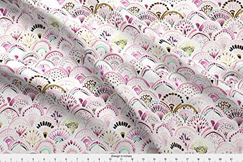 Medallion Blush (Spoonflower Mermaid Fabric - Boho Medallion Watercolor Blush Pink Scallop - by Crystal Walen Printed on Modern Jersey Fabric by The Yard)