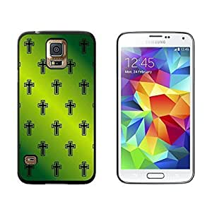 Crosses on Parade Christian Green - Snap On Hard Protective Case for Samsung Galaxy S5 - Black