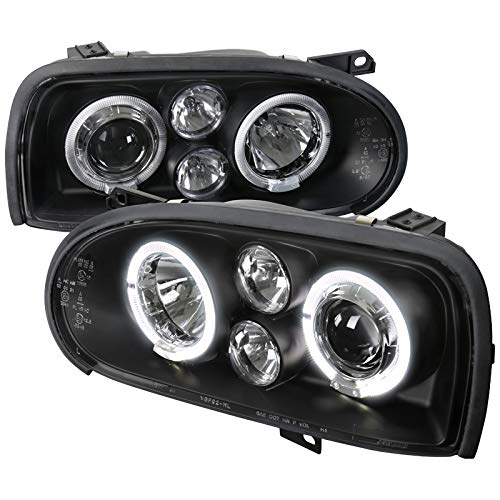 Velocity Concepts For Golf Mk3 Black Dual Halo Led Projector Head Lights - Golf Dual Halo Projector Headlights