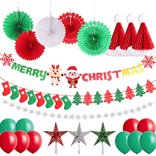 Delicacy 25 Pcs Merry Christmas Party Decorations Christmas Sock Tree Banner Hanging Paper Star Fans Honeycomb Hat Balloons for Xmas Holiday Party Decor Supplies